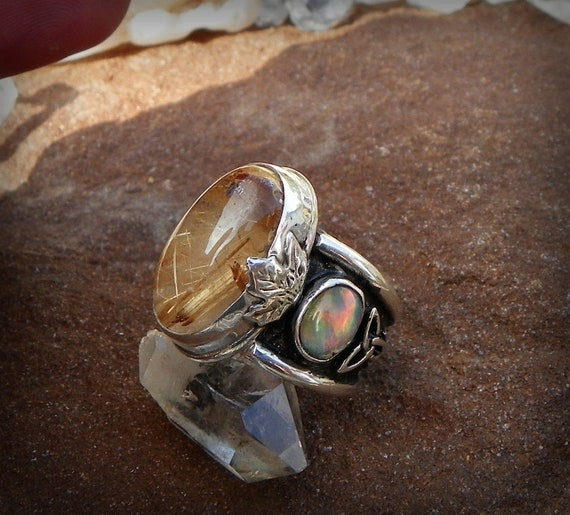 Mabon's Harvest Gold Rutilated Quartz and Opal set in sterling silver Fairy & Triquetra Ring