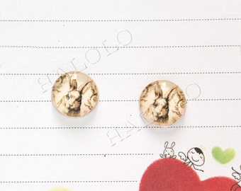 Sale - 10pcs handmade rabbit round clear glass dome cabochons 12mm (12-0300)