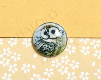 4pcs handmade owl round clear glass dome cabochons 25mm (250626)