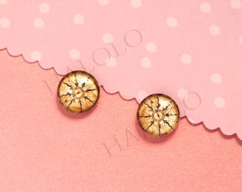 Sale - 10pcs handmade antique compass round clear glass dome cabochons 12mm (12-0630)
