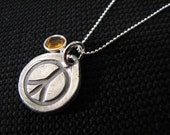 Fine Silver Stamped Peace Sign Charm Necklace with Swarovski Birthstone