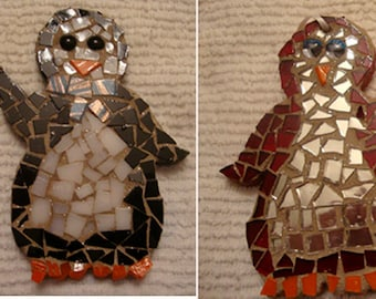 SALE! Handmade Penguin Couples Mosaic Ornaments You Choose Set of Two