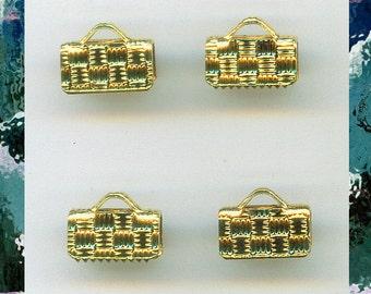 Bracelet ends, 10 brass ribbon crimps, crimp ends 10mm