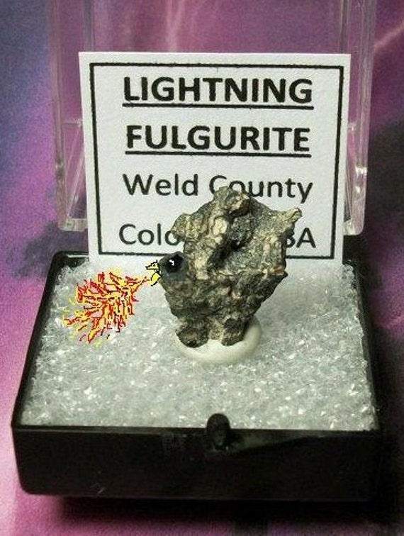FIRE-BIRD Natural Petrified Frozen Lightning Fulgurite In Specimen Box From Colorado USA Rare Metaphysical Collectible Sale