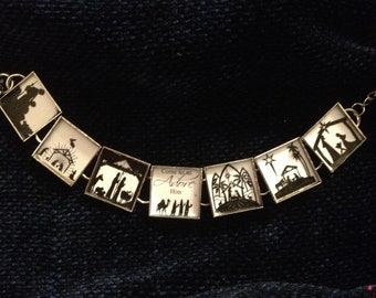 Silhouette in black and white Nativity bracelet FREE USA SHIPPING