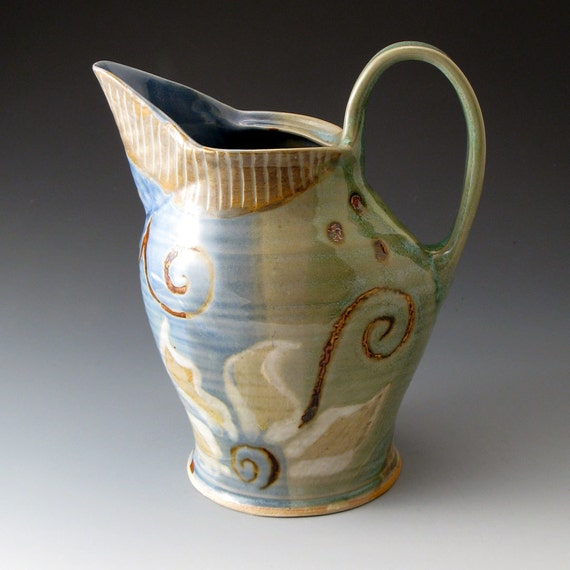 Handmade Clay Water Pitcher with Flower Motif
