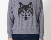 Wolf Child women's tri-blend grey raglan AA pullover