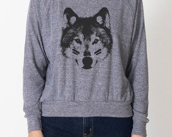 Wolf Child women's tri-blend grey raglan AA pullover