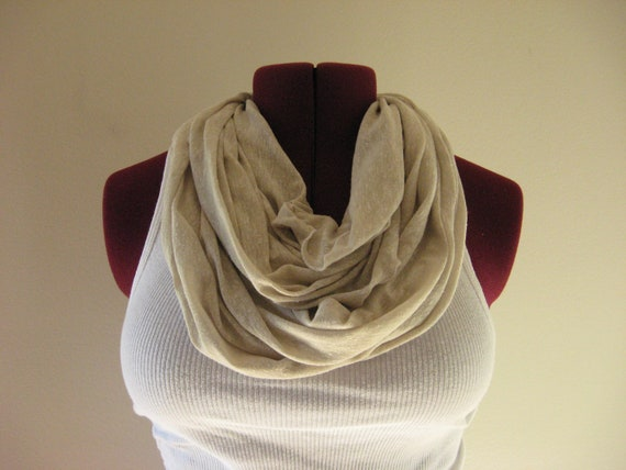 Infinity scarf ivory slub knit, Fall Fashion,