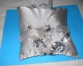 FINAL  SALE  ring pillow   Premium silver