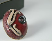 Adjustable Antique Finish Oval Cherry Red Ring with An Ottoman Style Tulip