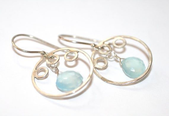 Blue Chalcedony Gemstone and Sterling Silver Bubble Hoop Handmade Earrings
