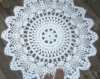 "White Cotton Crochet Doily Rug in 1M 100CM 39.37"" Circle Lacy Pattern Non Skid"