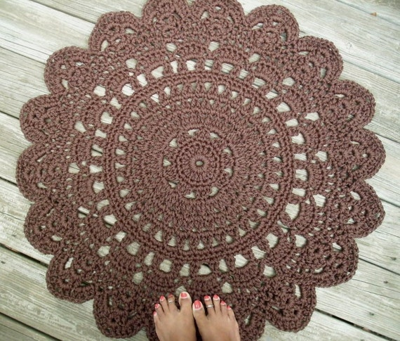 """Chocolate Brown Patio Porch Cord Crochet Rug in 35"""" Round Pineapple Pattern"""