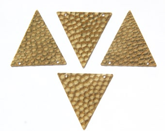 2 Hole Raw Brass Geometric Hammered Triangle Pendant Charm (6) mtl369
