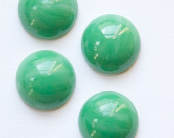 Vintage Opaque Green with White Glass Cabochons 13mm cab704Y