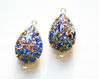 Vintage Blue Millefiori Glass Teardrop Stones 2 Loop Brass Setting18mm x13mm par004A2