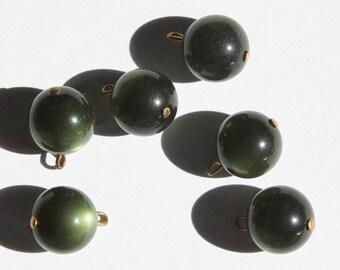 Vintage Dark Green Moonglow Drops with Brass Loop drp062B