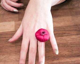 Fushia Silk Pin Cushion Ring