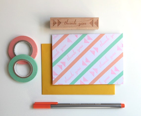 DIY Thank You Card Kit with original rubber stamp and 8 blank cards and envelopes