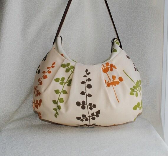 Pleated Bag - Floating Petals Brown