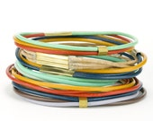 Colorful Leather Bangles - multi-colored