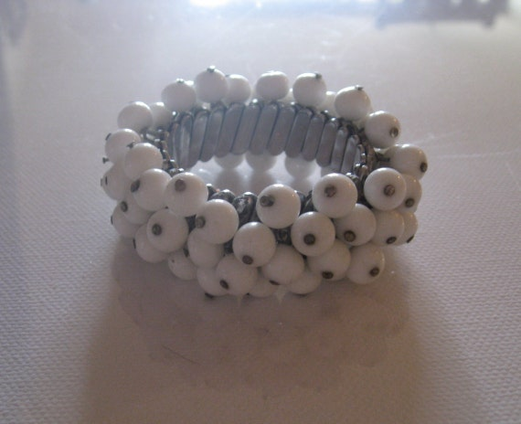 Vintage Bracelet White Beads on Stretch Band - Unique