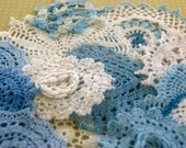 Bluebelle     Pale blue and white hand dyed vintage doilies