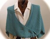 SEAFOAM SWIRLS Knitted Shawl and Shawl Stick