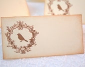 Wedding Escort Place cards / Placecards Food Buffet Sign Bird Silhouette Stamped