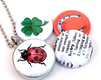 LUCKY Charm Locket Necklace, Four Leaf Clover Necklace, Ladybug, Horse Shoe, 4 in 1 Magnetic Locket Handmade of Recycled Steel by Polarity