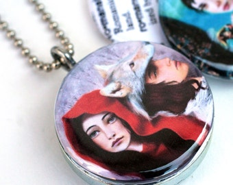 Red Riding Hood Locket, Napoleon and Josephine Necklace, Romance, Romantic Gift, Meluseena Artwork, Magnetic Necklace By Polarity, Recycled