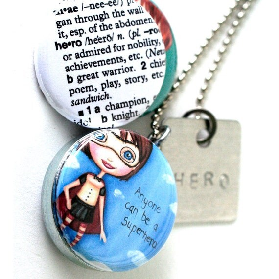 HERO Girl Locket Necklace - Stamped Locket - Superhero Magnetic Necklace - The Dreamy Giraffe and Polarity