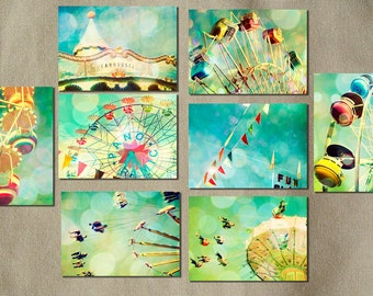 Carnival photos, home decor, nursery art, turquoise, ferris wheel, wall art, baby, circus art, new baby, turquoise, blue green, aqua
