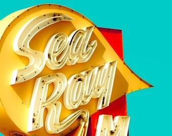 Vintage sign photography, mid century neon, retro modern decor, Jersey shore, mustard yellow, motel sign, aquamarine, scarlet