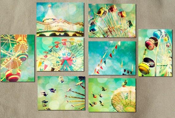 Carnival photos, home decor, nursery art, turquoise, ferris wheel, wall art, baby, circus art, new baby, turquoise, blue green, aqua