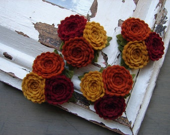 Wool Felt Flowers - Scallop Button Flower Trios - Autumn Collection - Set of 4