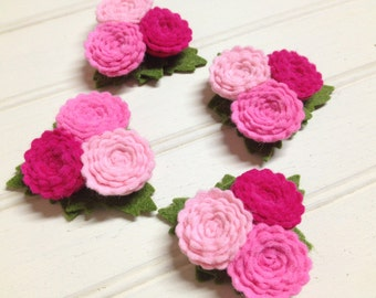 Wool Felt Flowers - Pink Valentine Collection - Scallop Button Flower Trios - Set of 4