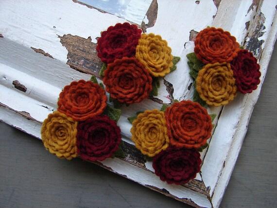 Wool Felt Flowers - Scallop Button Flower Trios - Autumn Collection - Set of 4