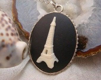 Paris Eiffel Tower Cameo Necklace