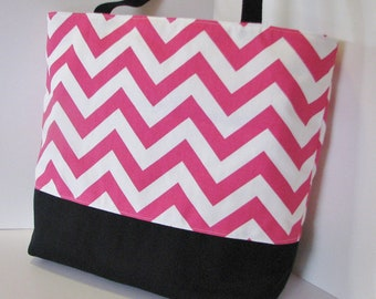 Chevron Tote . Standard size . Chevron beach bag . Pink white black . Great teachers tote or bridesmaid gifts MONOGRAM AVailable