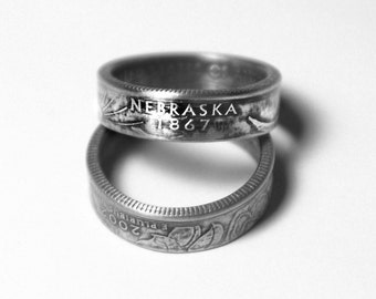 Handcrafted Ring made from a US Quarter - Nebraska - Pick your size