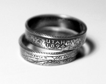 Handcrafted Ring made from a US Quarter - Utah - Pick your size