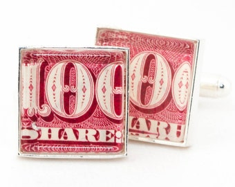Authentic Vintage Red Stock Certificate Cufflinks With Cuff LInks Box