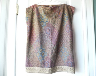 1990s brocade top / 90s baroque paisley top  / Once a skirt, now a cap sleeved top