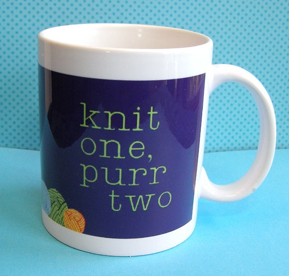 Knitting Cat Mug and Memos Gift Set