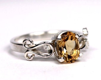 Citrine Ring, Faceted Citrine, Handmade Ring, Sterling Silver Ring, Statement Ring