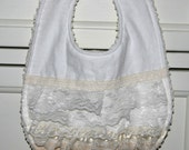 Off-White Lace Baby Bib