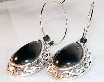Teardrop Black Earrings Silver Earrings Dangle & Drop Earrings Hoop Jewelry Statement Earrings Wedding Earrings Long Earrings Chandelier