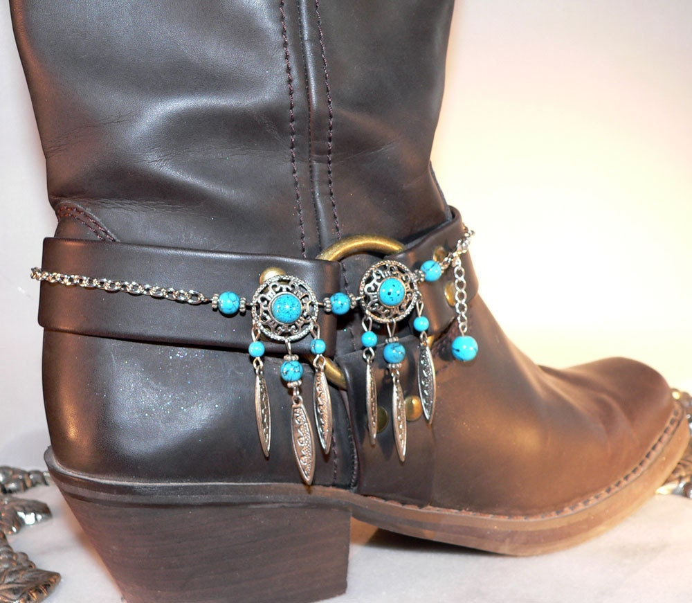 turquoise blue boot bracelet cowboy bling by